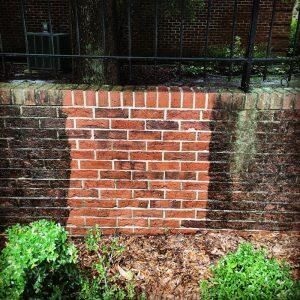 Pressure washing brick