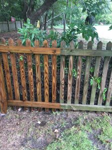 Pressure washing fence